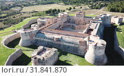 Купить «Aerial view of Catalan fortress Fort de Salses at sunny day, France», видеоролик № 31841870, снято 3 января 2019 г. (c) Яков Филимонов / Фотобанк Лори