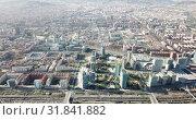 Купить «Aerial view of new residential complex of Diagonal Mar i el Front Maritim del Poblenou in sunny day, Barcelona, Spain», видеоролик № 31841882, снято 5 марта 2019 г. (c) Яков Филимонов / Фотобанк Лори