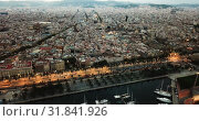 Купить «View from drones of sailboats and yachts in old port of Barcelona and gothic quarter at night», видеоролик № 31841926, снято 28 сентября 2018 г. (c) Яков Филимонов / Фотобанк Лори