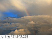 Купить «Beautiful heavenly landscape. Rainbow in the sky among the clouds», фото № 31843238, снято 20 июля 2019 г. (c) Яна Королёва / Фотобанк Лори