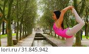 Купить «Young ballerina stretching her leg while dancing in the park 4k», видеоролик № 31845942, снято 26 сентября 2018 г. (c) Wavebreak Media / Фотобанк Лори