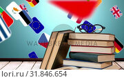 school books and glasses with 3d European flags in the background (2018 год). Стоковое видео, агентство Wavebreak Media / Фотобанк Лори