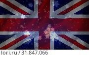 Flag of the UK and snowflakes. Стоковое видео, агентство Wavebreak Media / Фотобанк Лори