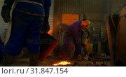 Купить «Group of workers pouring molten metal in mold at workshop 4k», видеоролик № 31847154, снято 27 сентября 2018 г. (c) Wavebreak Media / Фотобанк Лори