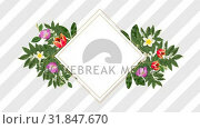 Купить «photo frame for copy space with decorative purple, red and white flowers», видеоролик № 31847670, снято 29 ноября 2018 г. (c) Wavebreak Media / Фотобанк Лори