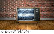 Купить «Zoom into old retro TV with no signal against red brick wall background», видеоролик № 31847746, снято 29 ноября 2018 г. (c) Wavebreak Media / Фотобанк Лори