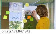 Купить «Rear view of businesswoman looking at graphs in modern office 4k», видеоролик № 31847842, снято 29 сентября 2018 г. (c) Wavebreak Media / Фотобанк Лори
