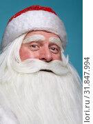 Close-up christmas face portrait of russiad Santa Claus Ded Moroz. Стоковое фото, фотограф Serg Zastavkin / Фотобанк Лори