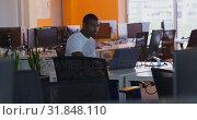 Купить «Side view of young black male executive working on computer at desk in office 4k», видеоролик № 31848110, снято 29 сентября 2018 г. (c) Wavebreak Media / Фотобанк Лори