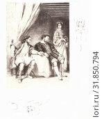 Eugène Delacroix (French, 1798 - 1863). Weislingen, Prisoner of Goetz, 19th century. Lithograph on China paper applied to velin. (2013 год). Редакционное фото, фотограф Artokoloro / age Fotostock / Фотобанк Лори