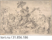 Africa, 1728–74, Black chalk (and graphite?), 9 x 13 5/8 in. (22.8 x 34.6 cm), Drawings, Gottfried Bernhard Goetz (German, Velehrad 1708–1774 Augsburg) (2017 год). Редакционное фото, фотограф © Copyright Artokoloro Quint Lox Limited / age Fotostock / Фотобанк Лори