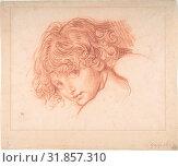 Girl's Head, n.d., Red chalk, 11 5/16 x 13 1/4 in. (28.7 x 33.7 cm), Drawings, Manner of Jean-Baptiste Greuze (French, Tournus 1725–1805 Paris) (2017 год). Редакционное фото, фотограф © Copyright Artokoloro Quint Lox Limited / age Fotostock / Фотобанк Лори