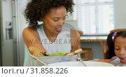 Купить «Front view of black mother wiping her daughters mouth with a napkin cloth 4k», видеоролик № 31858226, снято 7 ноября 2018 г. (c) Wavebreak Media / Фотобанк Лори