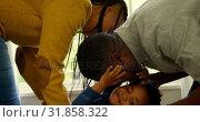 Купить «Side view of young black parents playing with their son in a comfortable home 4k», видеоролик № 31858322, снято 19 октября 2018 г. (c) Wavebreak Media / Фотобанк Лори