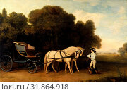 Phaeton with a Pair of Cream Ponies and a Stable-Lad Phaeton with a pair of cream ponies and a tiger-lad Charles II and Nell Gwynn at Newmarket Heath, George Stubbs, 1724-1806, British (2014 год). Редакционное фото, фотограф Artokoloro / age Fotostock / Фотобанк Лори