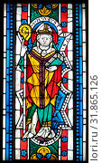 Saint Augustine, 1340–50, Made in Carinthia, Austria, Austrian, Pot-metal glass, colorless glass, and vitreous paint, 35 x 13 in. (88.9 x 33 cm), Glass-Stained (2017 год). Редакционное фото, фотограф © Copyright Artokoloro Quint Lox Limited / age Fotostock / Фотобанк Лори