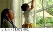 Купить «Side view of young black mother playing with his son on window sill in a comfortable home 4k», видеоролик № 31872602, снято 19 октября 2018 г. (c) Wavebreak Media / Фотобанк Лори