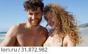 Купить «Romantic couple taking selfie with mobile phone at beach 4k», видеоролик № 31872982, снято 14 ноября 2018 г. (c) Wavebreak Media / Фотобанк Лори