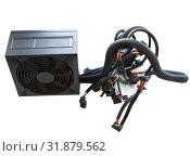 Купить «Single black power supply for PC with wires isolated on white background», фото № 31879562, снято 24 июня 2019 г. (c) Кекяляйнен Андрей / Фотобанк Лори