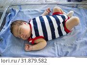 Купить «Newborn baby sleep in small hospital glass bed, lying on back in strip clothes», фото № 31879582, снято 12 июня 2019 г. (c) Кекяляйнен Андрей / Фотобанк Лори