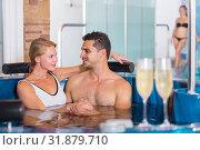 Купить «Romantic couple is relaxing with glasses of vine», фото № 31879710, снято 18 июля 2017 г. (c) Яков Филимонов / Фотобанк Лори
