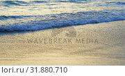 Купить «Beautiful sea waves reaching towards the shore on the beach 4k», видеоролик № 31880710, снято 16 октября 2018 г. (c) Wavebreak Media / Фотобанк Лори