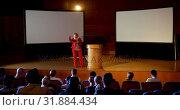 Купить «Mature Caucasian hijab businesswoman speaking in business seminar at auditorium 4k», видеоролик № 31884434, снято 15 ноября 2018 г. (c) Wavebreak Media / Фотобанк Лори