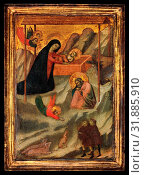 The Nativity, ca. 1320–40, Tempera on wood, gold ground, Overall, with engaged frame, 11 5/8 x 8 3/8 in. (29.5 x 21.3 cm), painted surface 8 1/2 x 6... (2017 год). Редакционное фото, фотограф © Copyright Artokoloro Quint Lox Limited / age Fotostock / Фотобанк Лори