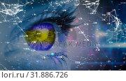 Купить «Eye looking a data connections», видеоролик № 31886726, снято 20 декабря 2018 г. (c) Wavebreak Media / Фотобанк Лори