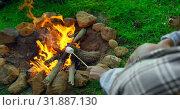 Купить «Woman roasting marshmallow on campfire 4k», видеоролик № 31887130, снято 12 октября 2018 г. (c) Wavebreak Media / Фотобанк Лори