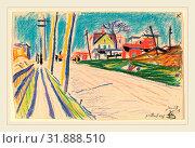 Купить «Oscar F. Bluemner, Street in the Bronx, American, 1867-1938, 1913, crayon», фото № 31888510, снято 1 марта 2012 г. (c) age Fotostock / Фотобанк Лори