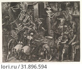 The Fall of Troy and Escape of Aeneas, mid-1540s, Engraving, sheet: 15 1/4 x 19 7/8 in. (38.8 x 50.5 cm), Prints, Giorgio Ghisi (Italian, Mantua ca. 1520â€... (2017 год). Редакционное фото, фотограф © Copyright Artokoloro Quint Lox Limited / age Fotostock / Фотобанк Лори