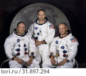 Купить «USA Florida -- 1969 -- The Apollo 11 lunar landing mission crew, pictured from left to right, Neil A. Armstrong, commander, Michael Collins, command module...», фото № 31897294, снято 7 октября 2019 г. (c) age Fotostock / Фотобанк Лори