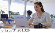 Купить «Pretty Caucasian female executive working on laptop at desk 4k», видеоролик № 31901326, снято 18 ноября 2018 г. (c) Wavebreak Media / Фотобанк Лори