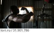 Купить «African American male boxer practicing boxing in fitness studio 4k», видеоролик № 31901786, снято 17 октября 2018 г. (c) Wavebreak Media / Фотобанк Лори