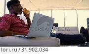 Купить «Handsome African american male executive using laptop in modern office 4k», видеоролик № 31902034, снято 18 ноября 2018 г. (c) Wavebreak Media / Фотобанк Лори