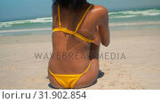 Купить «Young African American woman in yellow bikini relaxing on beach in the sunshine 4k», видеоролик № 31902854, снято 14 ноября 2018 г. (c) Wavebreak Media / Фотобанк Лори