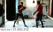 Купить «African American male boxer practicing boxing with trainer in fitness studio 4k», видеоролик № 31903310, снято 17 октября 2018 г. (c) Wavebreak Media / Фотобанк Лори