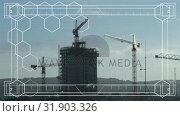 Купить «Digital composite of construction cranes», видеоролик № 31903326, снято 16 января 2019 г. (c) Wavebreak Media / Фотобанк Лори