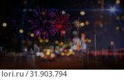 Купить «Cars driving towards fireworks on city road in the evening», видеоролик № 31903794, снято 22 января 2019 г. (c) Wavebreak Media / Фотобанк Лори