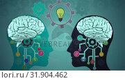 Купить «Animation of mechanism of a brain», видеоролик № 31904462, снято 22 января 2019 г. (c) Wavebreak Media / Фотобанк Лори