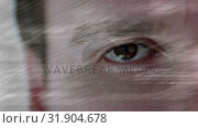 Купить «Data scrolling against a men eye background», видеоролик № 31904678, снято 4 февраля 2019 г. (c) Wavebreak Media / Фотобанк Лори