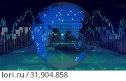 Animation of spinning earth globe surrounded by financial data. Стоковое видео, агентство Wavebreak Media / Фотобанк Лори