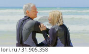 Купить «Rear view of active senior Caucasian couple interacting with each other on the beach 4k», видеоролик № 31905358, снято 14 ноября 2018 г. (c) Wavebreak Media / Фотобанк Лори