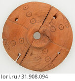 Spindle Whorl, 3rd–5th century, Made in Byzantine Egypt, Coptic, Wood, Overall: 7/8 x 3 1/8 in. (2.2 x 8 cm), Woodwork-Miscellany (2017 год). Редакционное фото, фотограф © Artokoloro Quint Lox Limited / age Fotostock / Фотобанк Лори