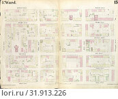 Plate 13: Map bounded by Concord Street, Duffield Street, Willoughby Street, Adams Street. 1855, William Perris, Brooklyn, New York, N.Y., USA. (2014 год). Редакционное фото, фотограф Artokoloro / age Fotostock / Фотобанк Лори
