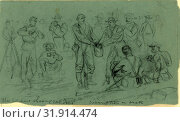 Купить «The soldiers sharing rations, drawing, 1862-1865, by Alfred R Waud, 1828-1891, an american artist famous for his American Civil War sketches, America, US.», фото № 31914474, снято 7 августа 2014 г. (c) age Fotostock / Фотобанк Лори