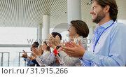 Купить «Business people applauding in the business seminar 4k», видеоролик № 31915266, снято 21 ноября 2018 г. (c) Wavebreak Media / Фотобанк Лори