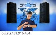 Купить «Digital composite of a technician and data cloud network transfer», видеоролик № 31916434, снято 4 февраля 2019 г. (c) Wavebreak Media / Фотобанк Лори