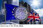 European and UK Flag behind a stopwatch. Стоковое видео, агентство Wavebreak Media / Фотобанк Лори